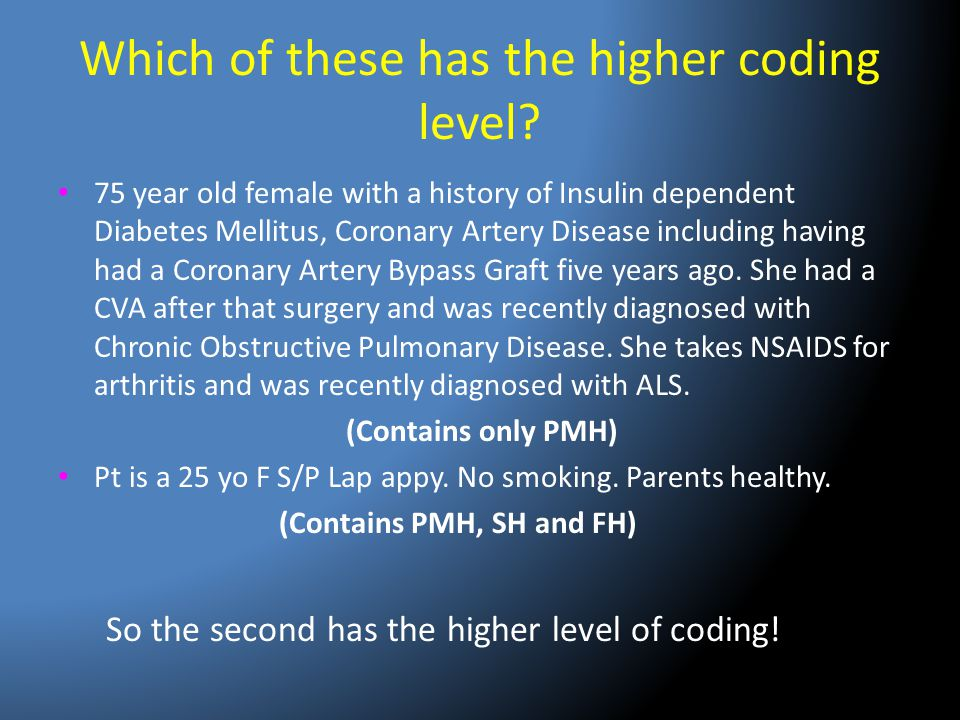 Which of these has the higher coding level? 75 year old female with a history of Insulin dependent Diabetes Mellitus, Coronary Artery Disease includin