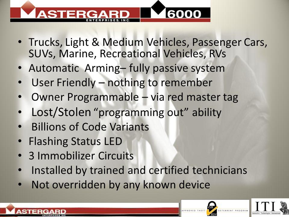 Trucks, Light & Medium Vehicles, Passenger Cars, SUVs, Marine, Recreational Vehicles, RVs Automatic Arming– fully passive system User Friendly – nothi