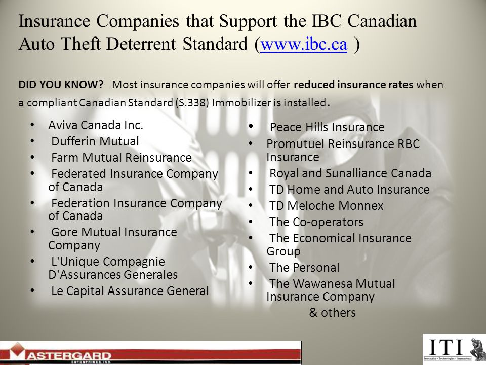 Insurance Companies that Support the IBC Canadian Auto Theft Deterrent Standard (  ) DID YOU KNOW.
