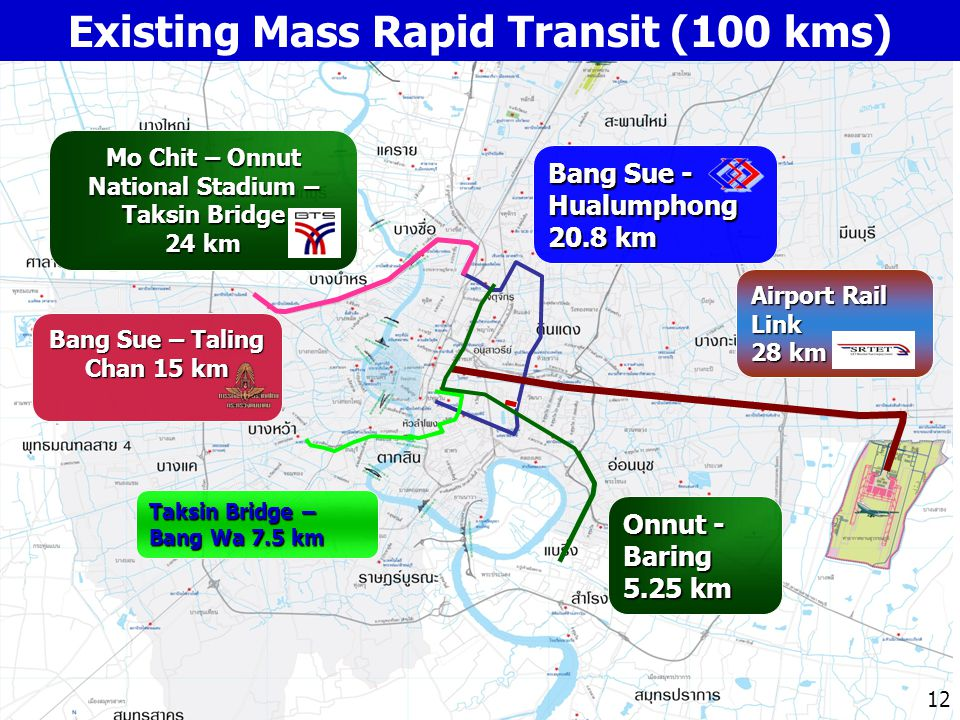 12 Airport Rail Link 28 km Onnut - Baring 5.25 km Taksin Bridge – Bang Wa 7.5 km Mo Chit – Onnut National Stadium – Taksin Bridge 24 km Bang Sue - Hua