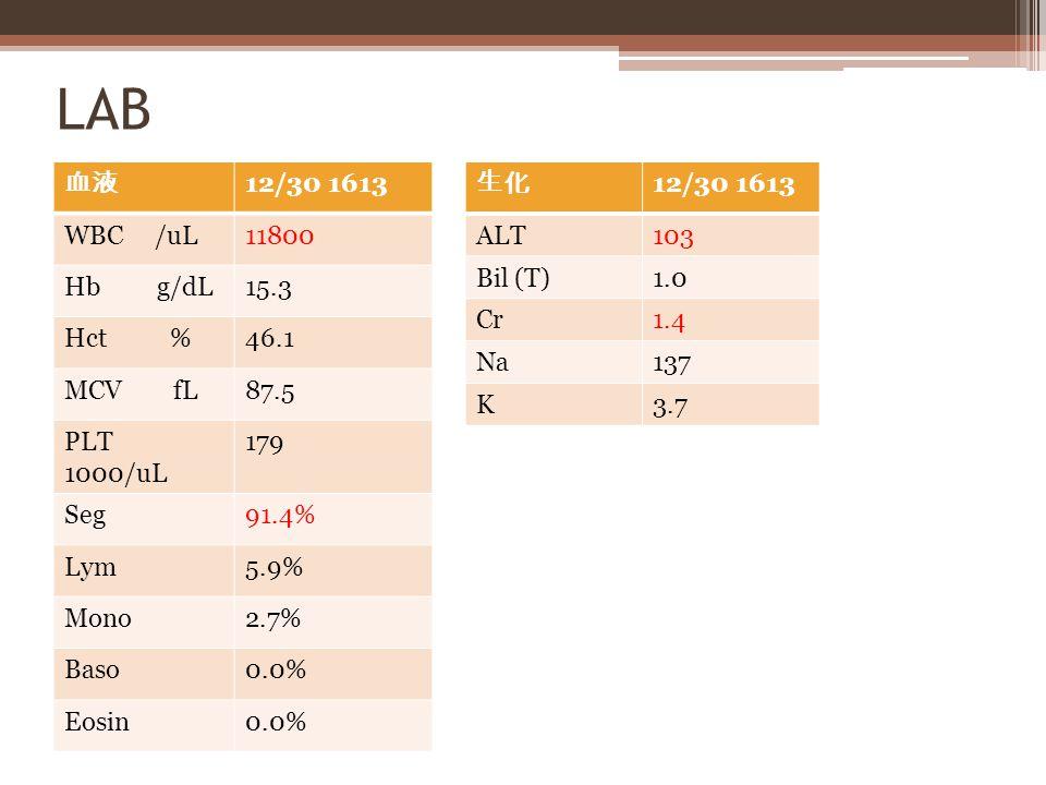 LAB 血液 12/30 1613 WBC /uL11800 Hb g/dL15.3 Hct %46.1 MCV fL87.5 PLT 1000/uL 179 Seg91.4% Lym5.9% Mono2.7% Baso0.0% Eosin0.0% 生化 12/30 1613 ALT103 Bil (T)1.0 Cr1.4 Na137 K3.7