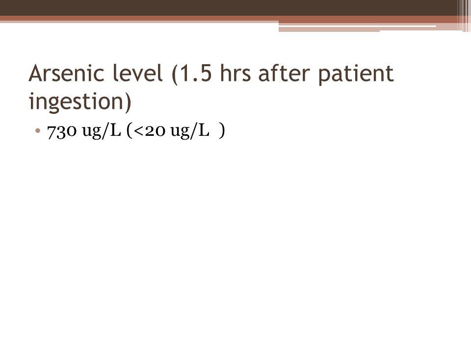 Arsenic level (1.5 hrs after patient ingestion) 730 ug/L (<20 ug/L )