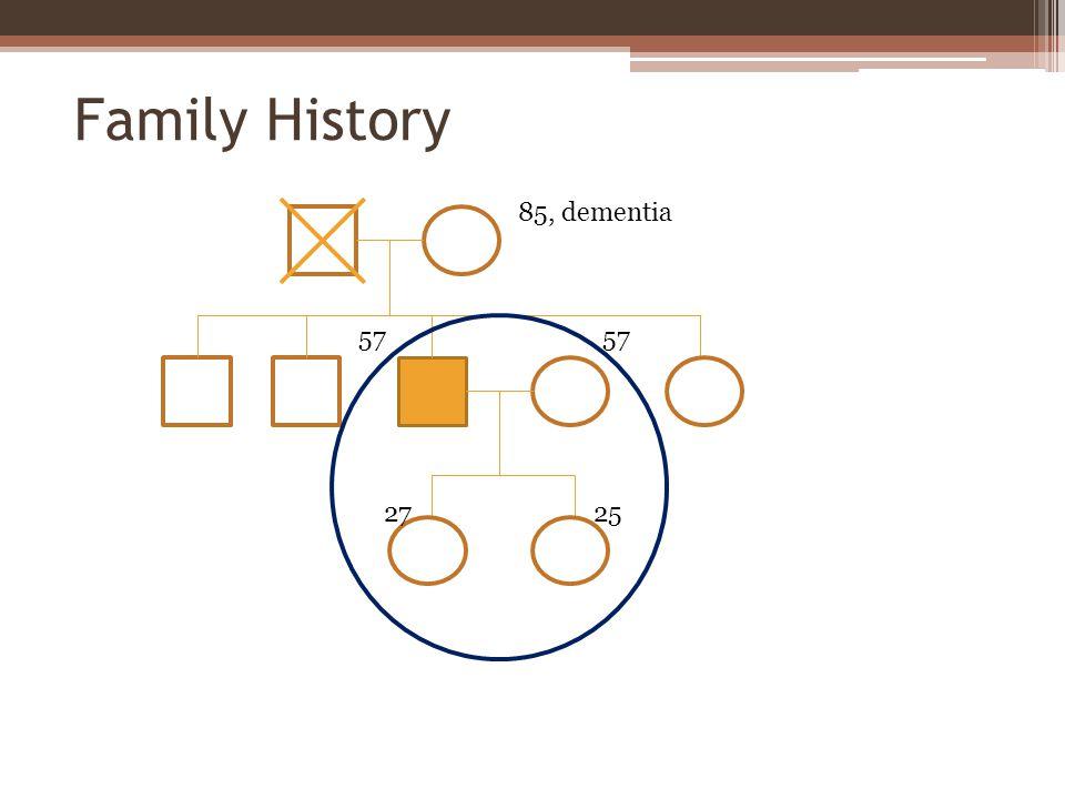 Family History 85, dementia 2527 57