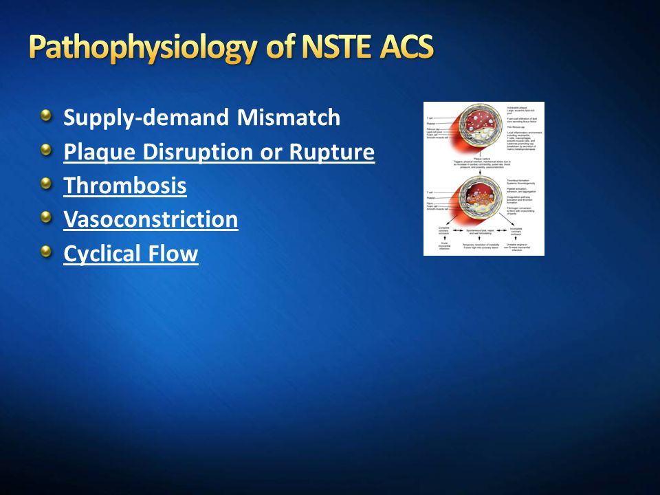 Supply-demand Mismatch Plaque Disruption or Rupture Thrombosis Vasoconstriction Cyclical Flow