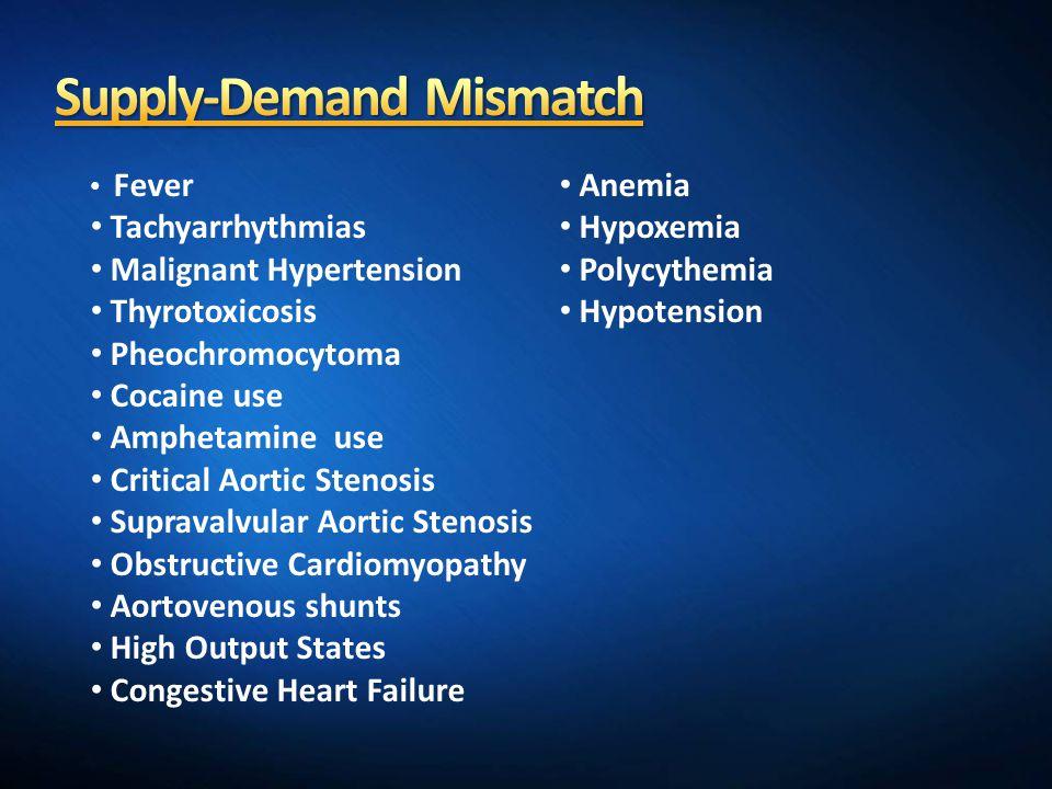 Fever Tachyarrhythmias Malignant Hypertension Thyrotoxicosis Pheochromocytoma Cocaine use Amphetamine use Critical Aortic Stenosis Supravalvular Aorti