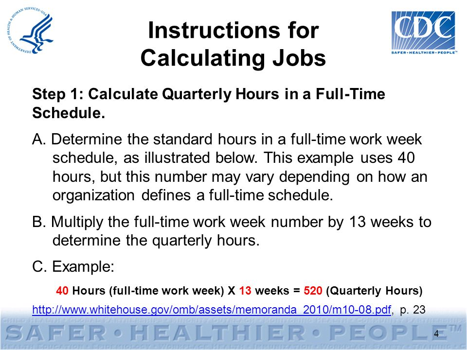 Instructions for Calculating Jobs Step 1: Calculate Quarterly Hours in a Full-Time Schedule.