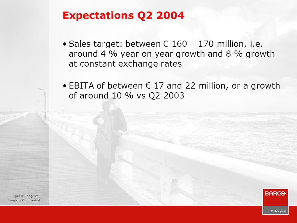 28 April 04, page 21 Company Confidential Expectations Q2 2004 Sales target: between € 160 – 170 million, i.e.
