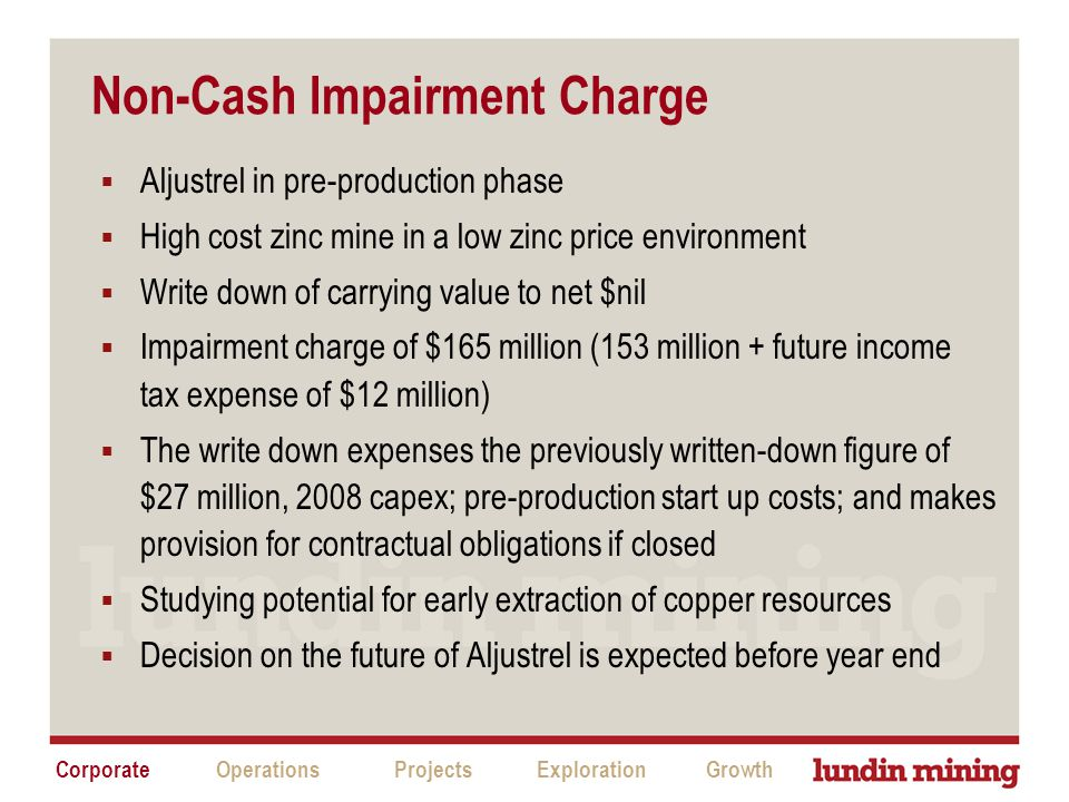 Non-Cash Impairment Charge  Aljustrel in pre-production phase  High cost zinc mine in a low zinc price environment  Write down of carrying value to net $nil  Impairment charge of $165 million (153 million + future income tax expense of $12 million)  The write down expenses the previously written-down figure of $27 million, 2008 capex; pre-production start up costs; and makes provision for contractual obligations if closed  Studying potential for early extraction of copper resources  Decision on the future of Aljustrel is expected before year end CorporateProjectsExplorationGrowthOperations