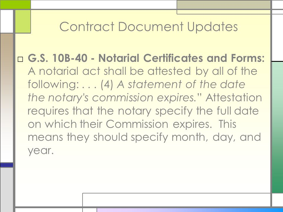 Contract Document Updates □ G.S.
