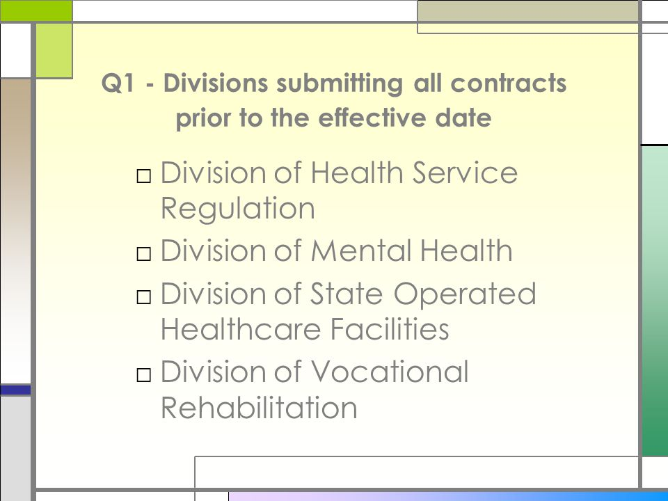 Q1 - Divisions submitting all contracts prior to the effective date □Division of Health Service Regulation □Division of Mental Health □Division of State Operated Healthcare Facilities □Division of Vocational Rehabilitation