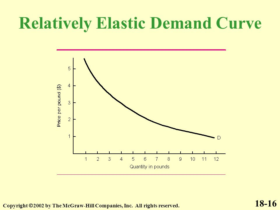 Relatively Elastic Demand Curve 18-16 Copyright  2002 by The McGraw-Hill Companies, Inc. All rights reserved.