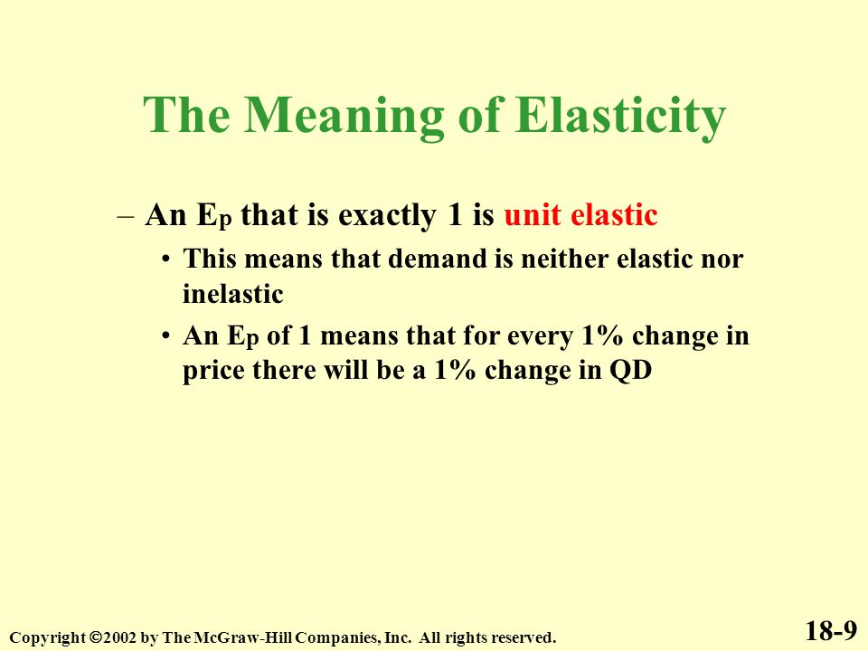 18-9 Copyright  2002 by The McGraw-Hill Companies, Inc. All rights reserved. The Meaning of Elasticity –An E p that is exactly 1 is unit elastic This