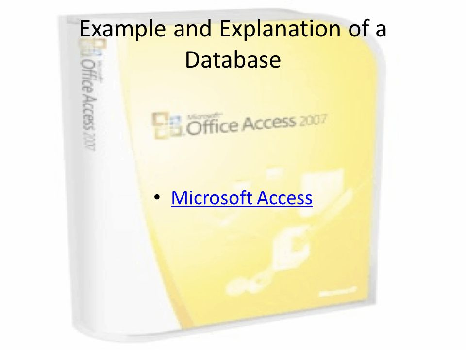 Example and Explanation of a Database Microsoft Access