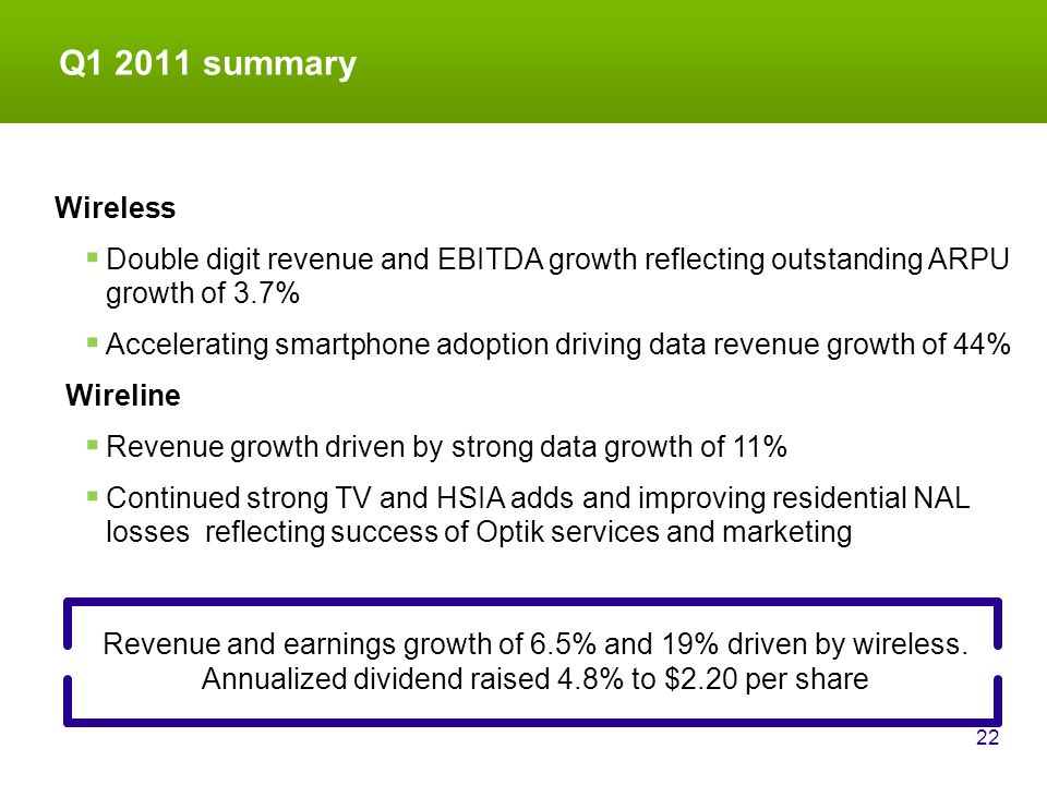 Q1 2011 summary 22 Revenue and earnings growth of 6.5% and 19% driven by wireless.