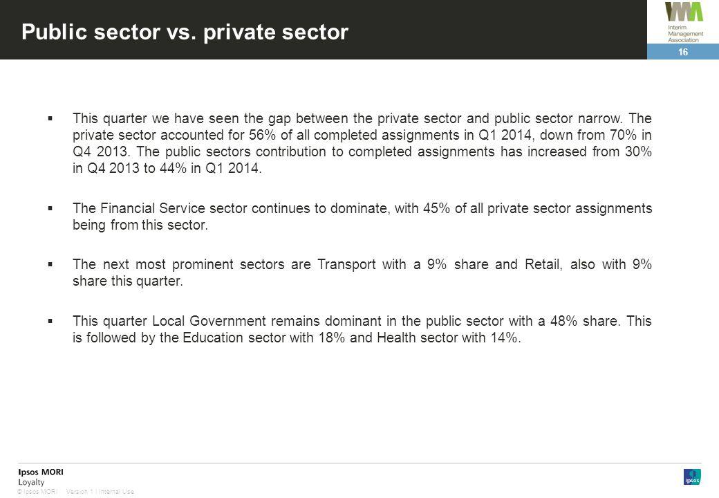 16 Version 1 | Internal Use© Ipsos MORI Public sector vs.
