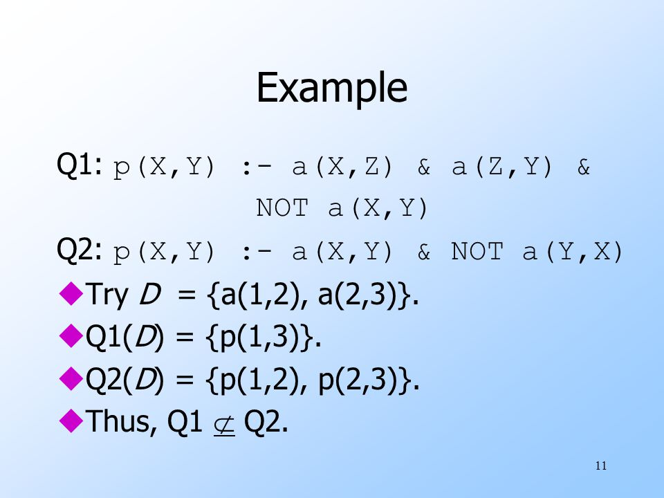 11 Example Q1: p(X,Y) :- a(X,Z) & a(Z,Y) & NOT a(X,Y) Q2: p(X,Y) :- a(X,Y) & NOT a(Y,X) uTry D = {a(1,2), a(2,3)}.