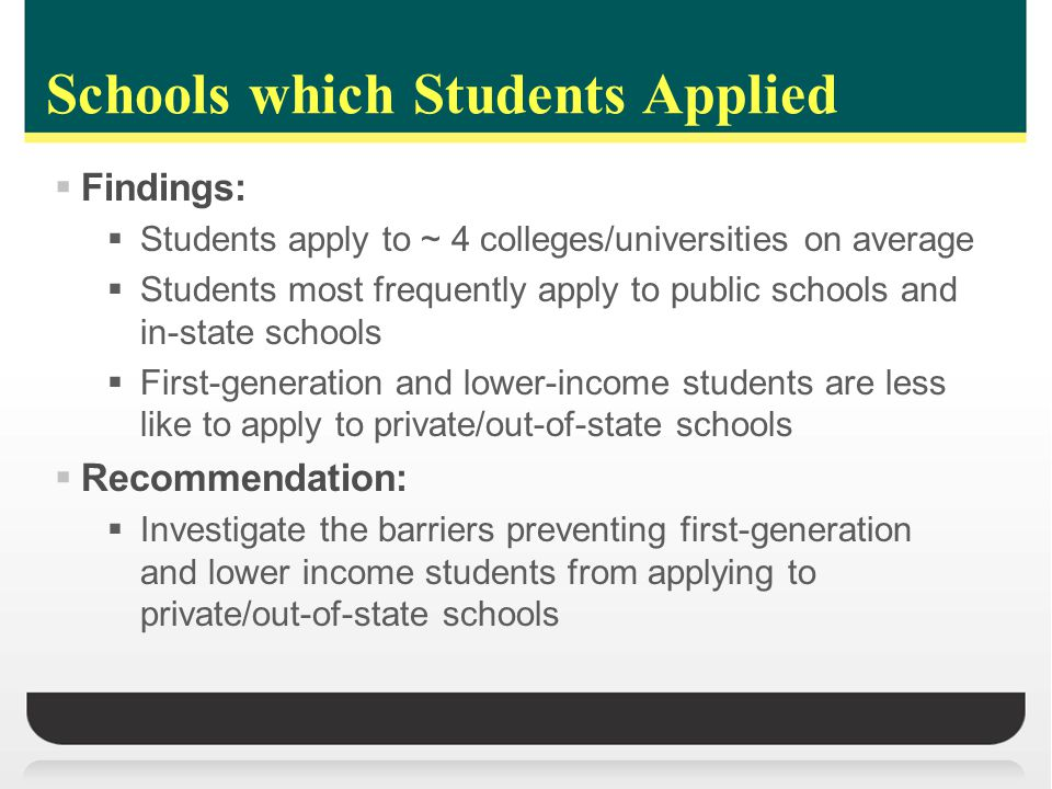 Schools which Students Applied  Findings:  Students apply to ~ 4 colleges/universities on average  Students most frequently apply to public schools and in-state schools  First-generation and lower-income students are less like to apply to private/out-of-state schools  Recommendation:  Investigate the barriers preventing first-generation and lower income students from applying to private/out-of-state schools