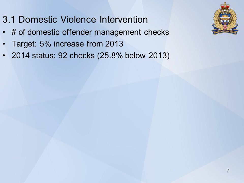 3.1 Domestic Violence Intervention # of domestic offender management checks Target: 5% increase from 2013 2014 status: 92 checks (25.8% below 2013) 7