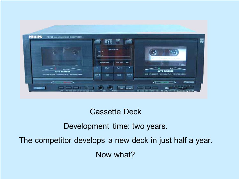 Cassette Deck Development time: two years. The competitor develops a new deck in just half a year.