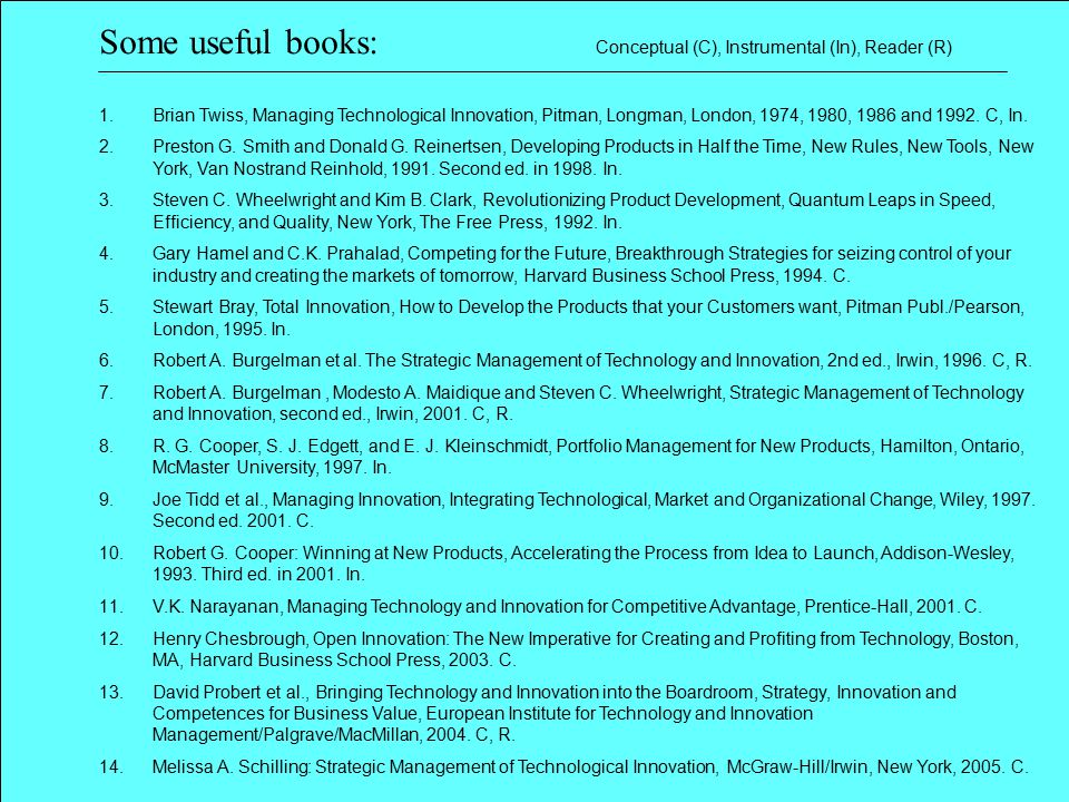 1.Brian Twiss, Managing Technological Innovation, Pitman, Longman, London, 1974, 1980, 1986 and 1992. C, In. 2.Preston G. Smith and Donald G. Reinerts