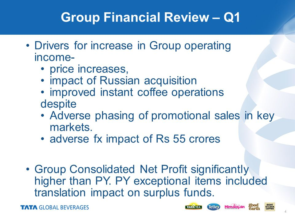 4 Group Financial Review – Q1 Drivers for increase in Group operating income- price increases, impact of Russian acquisition improved instant coffee o