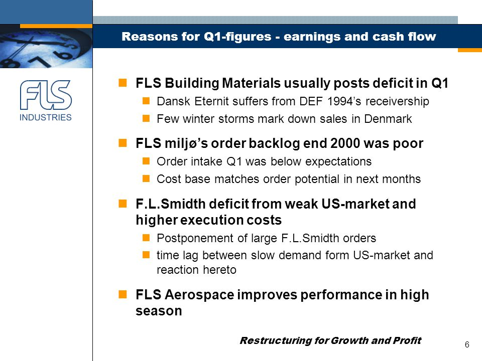 Restructuring for Growth and Profit 7 2001 and onwards n Normalising earnings in FLS Aerospace noptimise strategic value in consolidating industry n Further rightsizing of FLS miljø nmarketing technologies via international partnerships n Optimising across three centres in F.L.Smidth nspeed up after-market sales nimprove turnkey and civil engineering skills n Grow key product areas in FLS Building Materials nexpand production capacity in white cement nconsolidate industry and specialise fibre cement plants ntransferring best practise in Unicon's One Company nleverage Densit's first off-shore orders n Streamline governance model Supreme Court ruling in October!