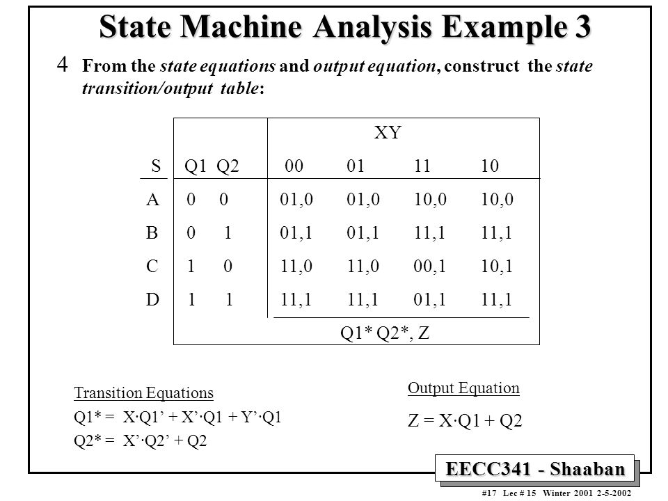 EECC341 - Shaaban #17 Lec # 15 Winter 2001 2-5-2002 4 From the state equations and output equation, construct the state transition/output table: State