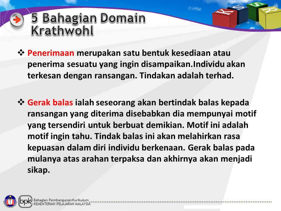Bahagian Pembangunan Kurikulum KEMENTERIAN PELAJARAN MALAYSIA  Penerimaan merupakan satu bentuk kesediaan atau penerima sesuatu yang ingin disampaika