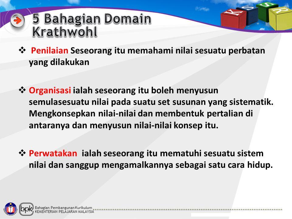 Bahagian Pembangunan Kurikulum KEMENTERIAN PELAJARAN MALAYSIA  Penilaian Seseorang itu memahami nilai sesuatu perbatan yang dilakukan  Organisasi ia