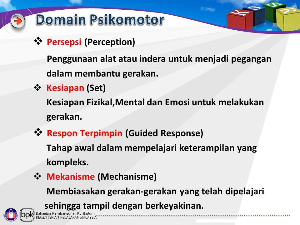 Bahagian Pembangunan Kurikulum KEMENTERIAN PELAJARAN MALAYSIA  Persepsi (Perception) Penggunaan alat atau indera untuk menjadi pegangan dalam membant