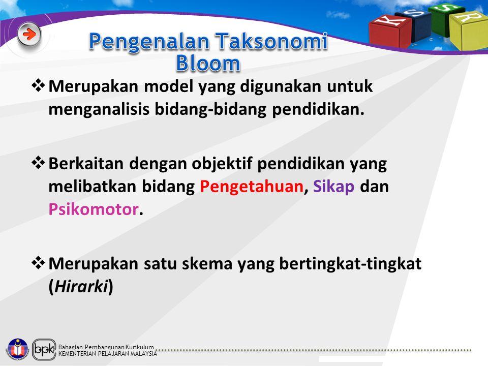 Bahagian Pembangunan Kurikulum KEMENTERIAN PELAJARAN MALAYSIA  Merupakan model yang digunakan untuk menganalisis bidang-bidang pendidikan.  Berkaita