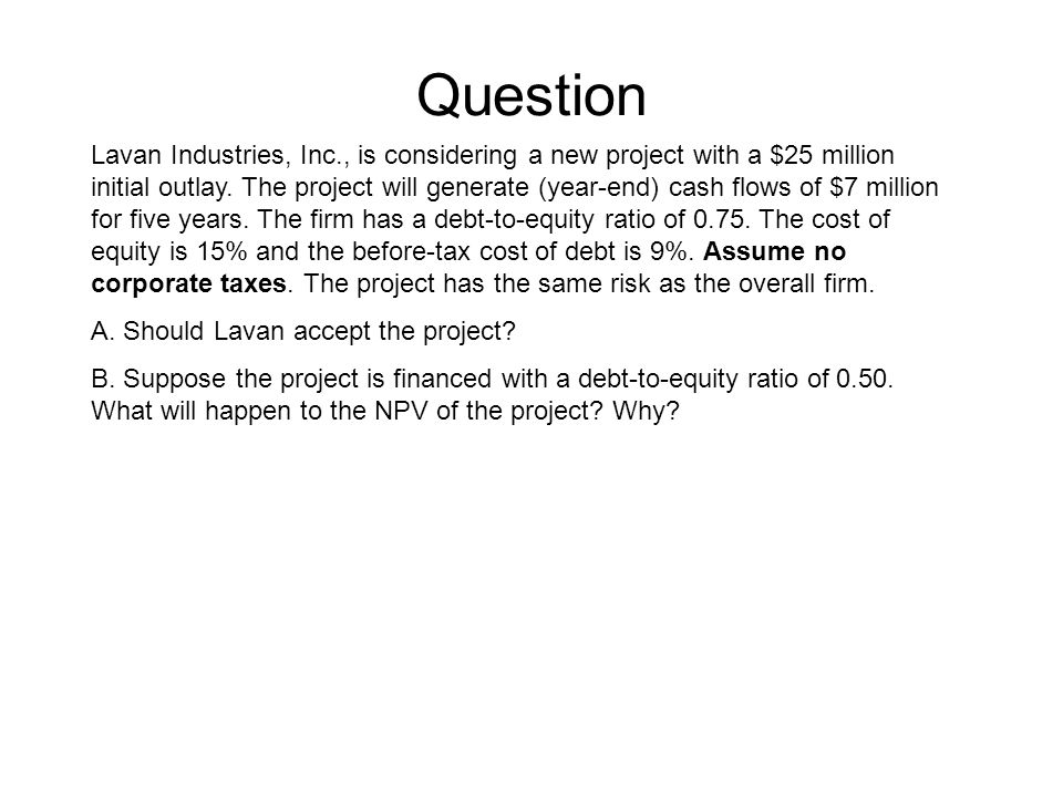 Question Lavan Industries, Inc., is considering a new project with a $25 million initial outlay.
