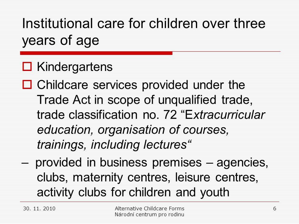 30. 11. 2010Alternative Childcare Forms Národní centrum pro rodinu 6 Institutional care for children over three years of age  Kindergartens  Childca