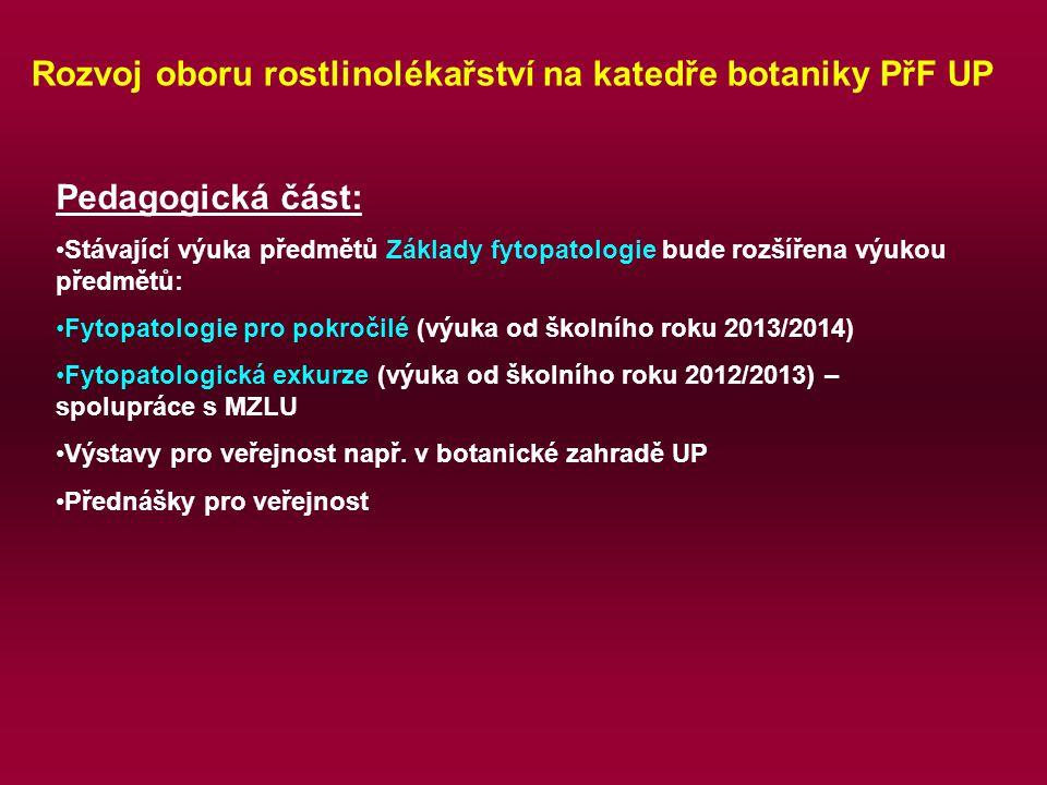 Rozvoj oboru rostlinolékařství na katedře botaniky PřF UP Pedagogická část: Stávající výuka předmětů Základy fytopatologie bude rozšířena výukou předmětů: Fytopatologie pro pokročilé (výuka od školního roku 2013/2014) Fytopatologická exkurze (výuka od školního roku 2012/2013) – spolupráce s MZLU Výstavy pro veřejnost např.