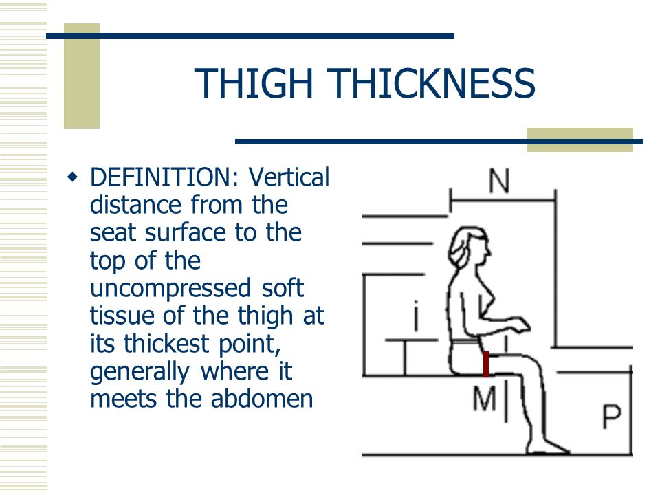 THIGH THICKNESS  DEFINITION: Vertical distance from the seat surface to the top of the uncompressed soft tissue of the thigh at its thickest point, generally where it meets the abdomen