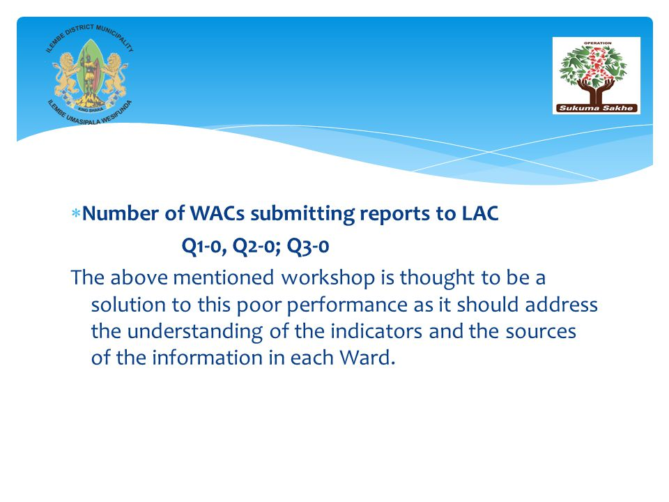  Number of WACs submitting reports to LAC Q1-0, Q2-0; Q3-0 The above mentioned workshop is thought to be a solution to this poor performance as it should address the understanding of the indicators and the sources of the information in each Ward.