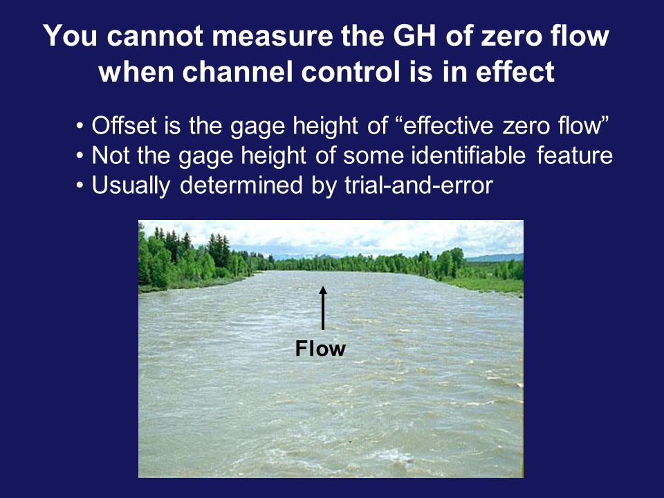"""You cannot measure the GH of zero flow when channel control is in effect Flow Offset is the gage height of """"effective zero flow"""" Not the gage height o"""
