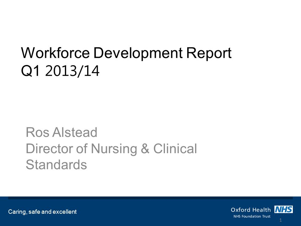 Workforce Development Report Q1 2013/14 Ros Alstead Director of Nursing & Clinical Standards Caring, safe and excellent 1