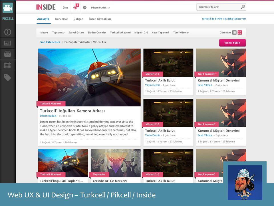 Web UX & UI Design – Turkcell / Pikcell / Inside