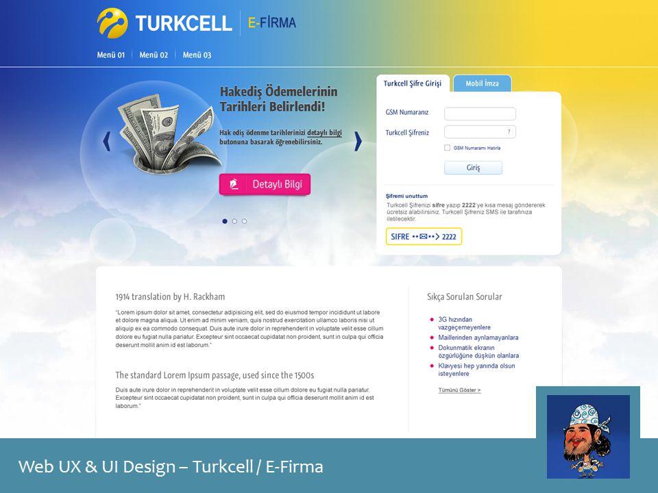 Web UX & UI Design – Turkcell / E-Firma