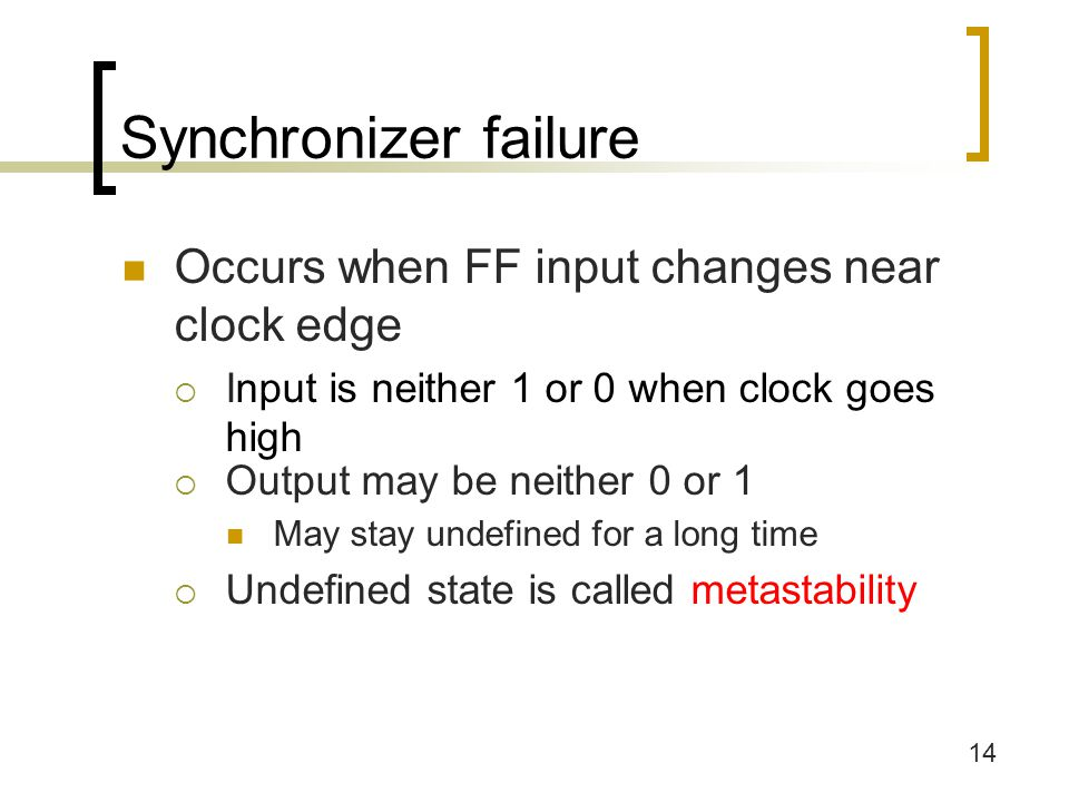 14 Synchronizer failure Occurs when FF input changes near clock edge  Input is neither 1 or 0 when clock goes high  Output may be neither 0 or 1 May stay undefined for a long time  Undefined state is called metastability