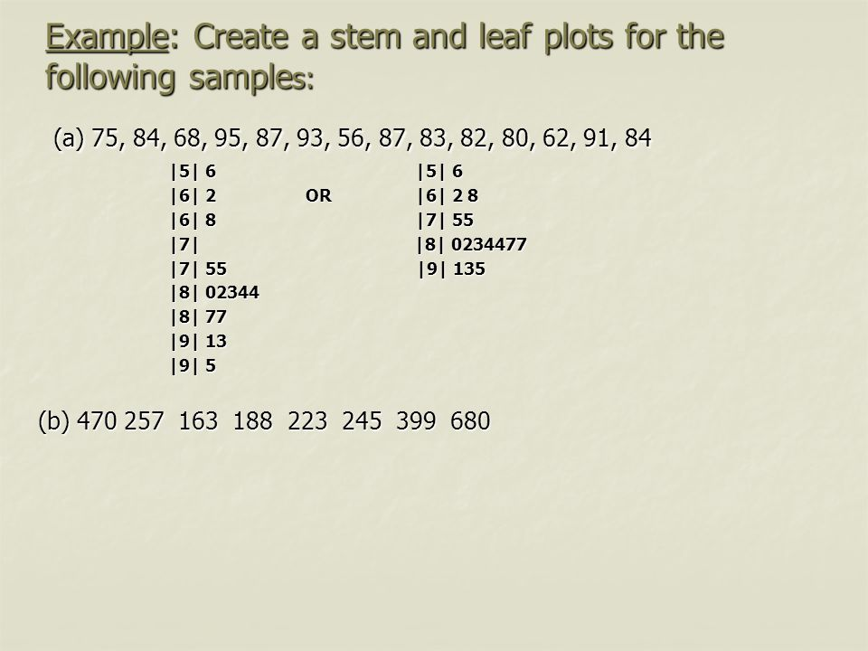 Example: Create a stem and leaf plots for the following sample s: (a) 75, 84, 68, 95, 87, 93, 56, 87, 83, 82, 80, 62, 91, 84 (a) 75, 84, 68, 95, 87, 9