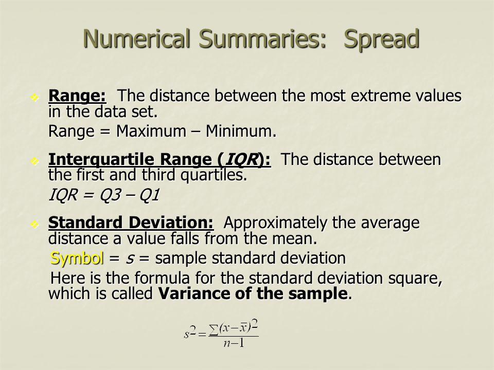 Numerical Summaries: Spread  Range: The distance between the most extreme values in the data set. Range = Maximum – Minimum.  Interquartile Range (I