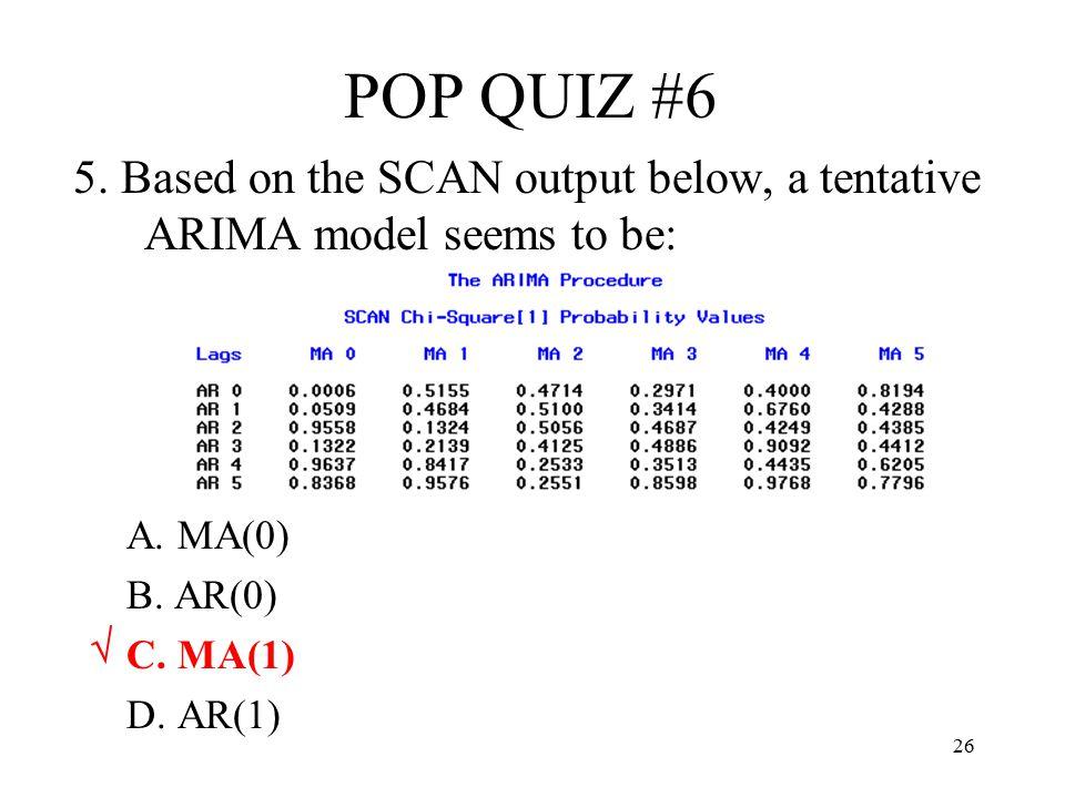 26 POP QUIZ #6 5. Based on the SCAN output below, a tentative ARIMA model seems to be: A. MA(0) B. AR(0) C. MA(1) D. AR(1) √
