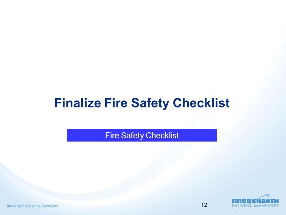 12 Finalize Fire Safety Checklist Fire Safety Checklist