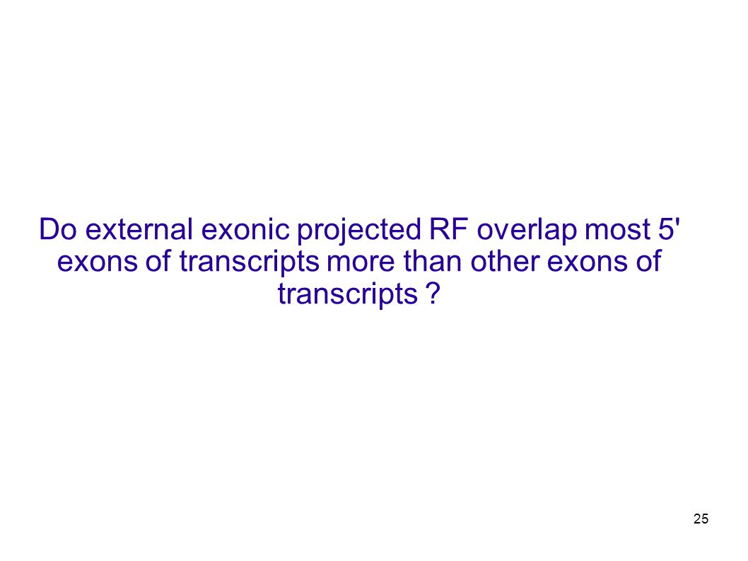 25 Do external exonic projected RF overlap most 5 exons of transcripts more than other exons of transcripts ?
