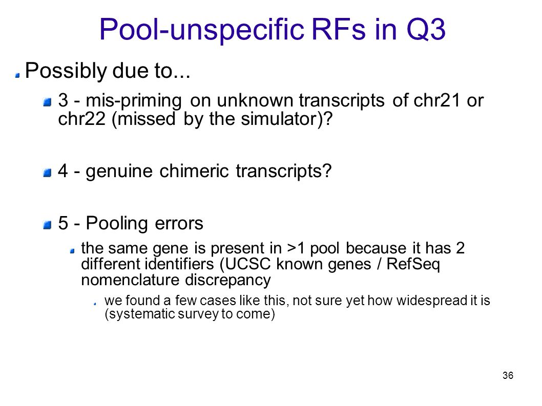 36 Pool-unspecific RFs in Q3 Possibly due to...
