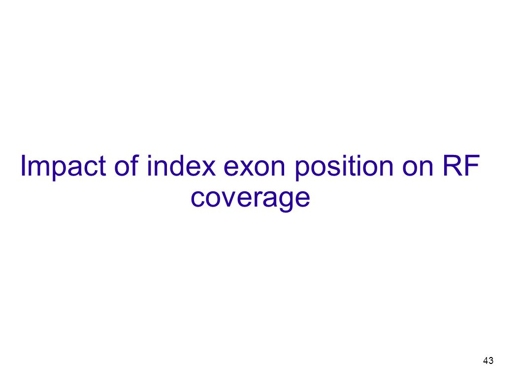 43 Impact of index exon position on RF coverage