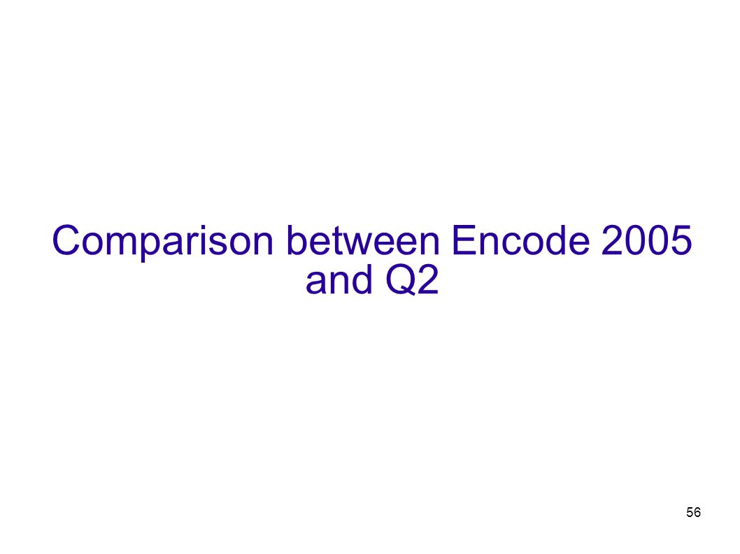 56 Comparison between Encode 2005 and Q2