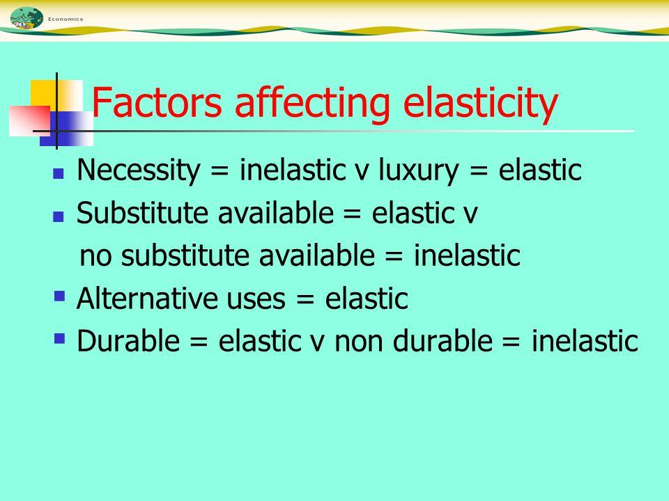 Factors affecting elasticity Necessity = inelastic v luxury = elastic Substitute available = elastic v no substitute available = inelastic  Alternative uses = elastic  Durable = elastic v non durable = inelastic